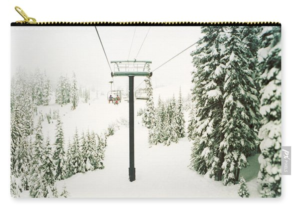 Chair Lift And Snowy Evergreen Trees Carry-all Pouch
