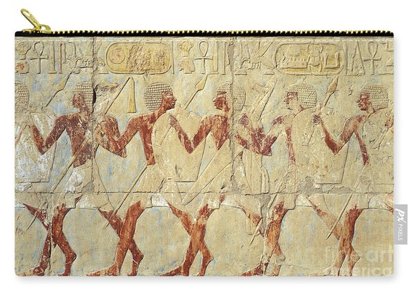 Chapel Of Hathor Hatshepsut Nubian Procession Soldiers - Digital Image -fine Art Print-ancient Egypt Carry-all Pouch