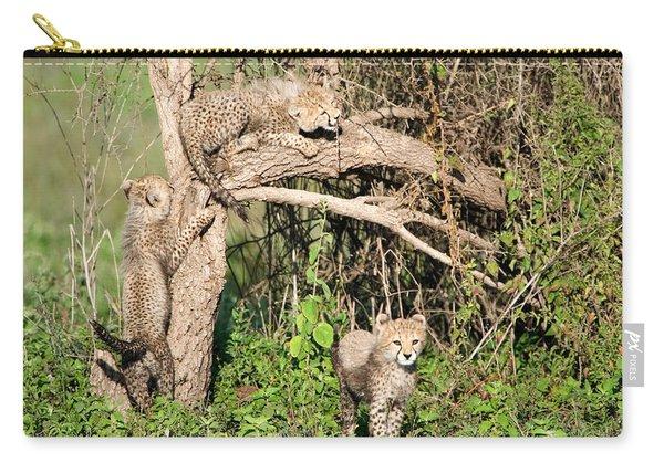 Cheetah Cubs Acinonyx Jubatus Climbing Carry-all Pouch