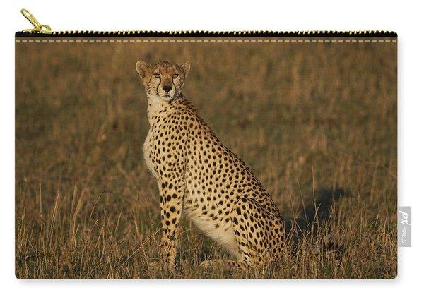 Cheetah On Savanna Masai Mara Kenya Carry-all Pouch