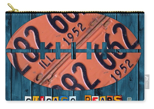 Chicago Bears Football Recycled License Plate Art Carry-all Pouch