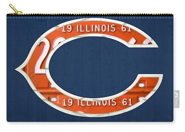 Chicago Bears Football Team Retro Logo Illinois License Plate Art Carry-all Pouch