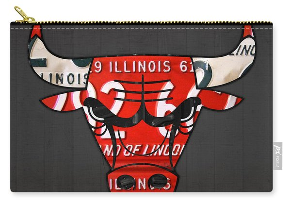 Chicago Bulls Basketball Team Retro Logo Vintage Recycled Illinois License Plate Art Carry-all Pouch