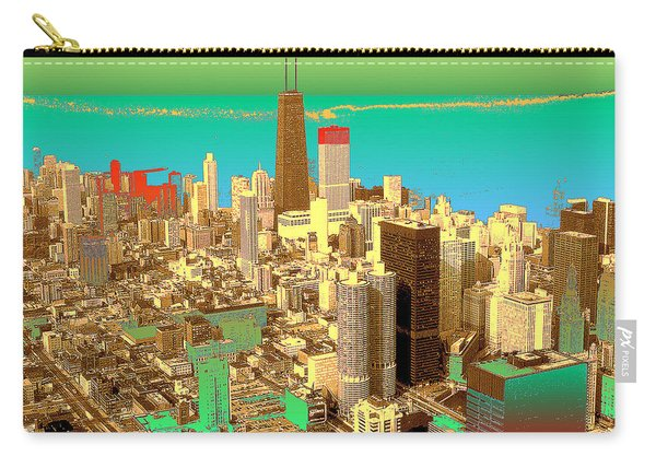 Chicago Pop Art In Blue Green Red Yellow Carry-all Pouch