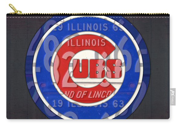 Chicago Cubs Baseball Team Retro Vintage Logo License Plate Art Carry-all Pouch