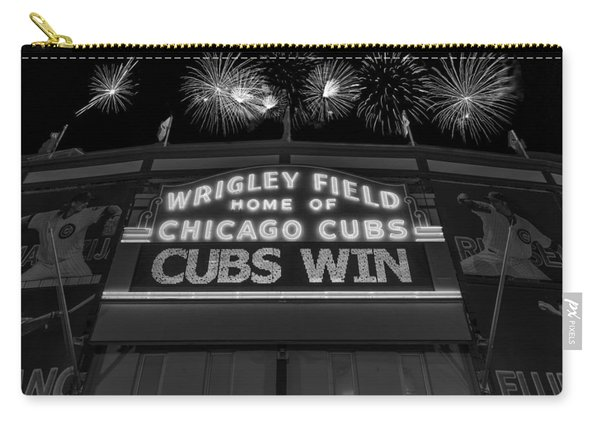 Chicago Cubs Win Fireworks Night B W Carry-all Pouch