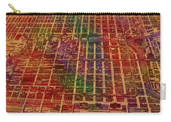 Chicago Illinois Map Business District 1898 Birds Eye View Watercolor Painting On Parchment  Carry-all Pouch