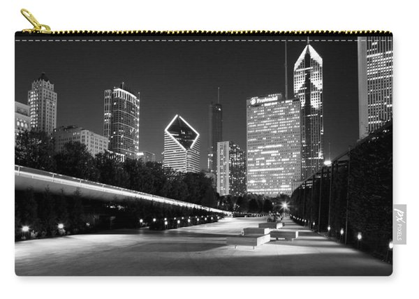Chicago Night Skyline Black White Carry-all Pouch