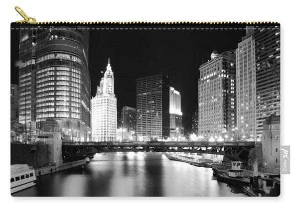 Chicago River Bridge Skyline Black White Carry-all Pouch