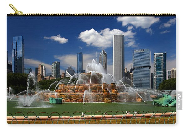 Chicago Skyline Grant Park Fountain Clouds Carry-all Pouch