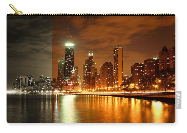 Chicago Skyline Night Amber Carry-all Pouch