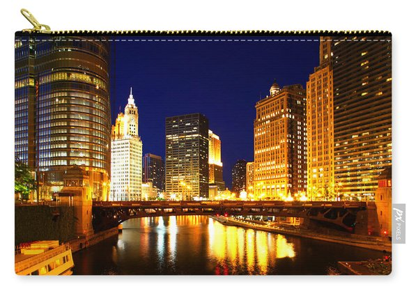 Chicago Skyline Night River Carry-all Pouch