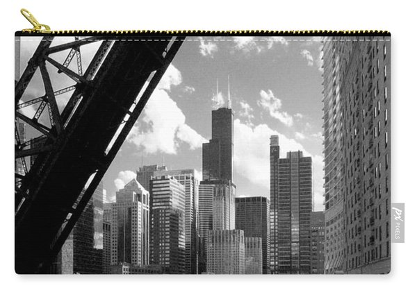 Chicago-skyline-raised Bridge Black White Carry-all Pouch