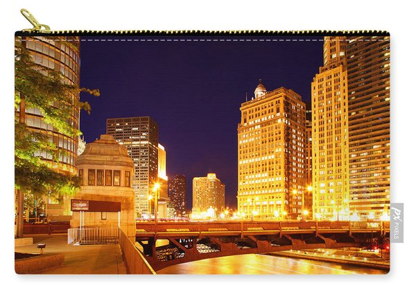 Chicago Skyline River Bridge Night Carry-all Pouch