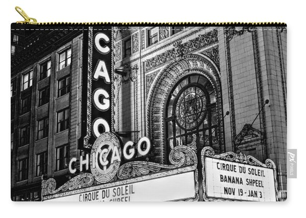 Chicago Theatre Marquee Sign At Night Black And White Carry-all Pouch