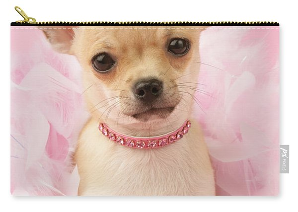 Chihuahua With Feather Boa Carry-all Pouch