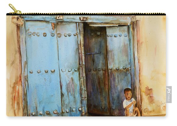 Child Sitting In Old Zanzibar Doorway Carry-all Pouch