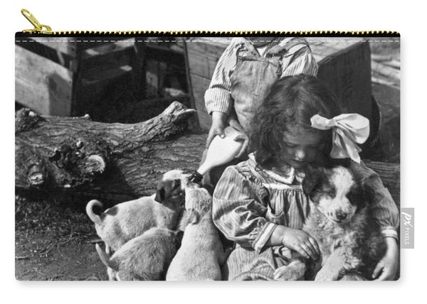 Children On Farm With Puppies Carry-all Pouch