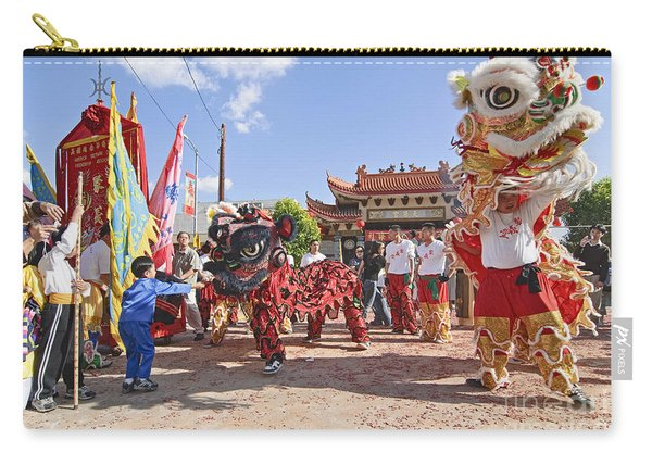Chinese Lion Dancers During A Celebration. Carry-all Pouch