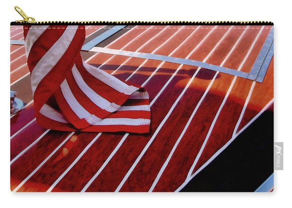 Chris Craft With American Flag Carry-all Pouch
