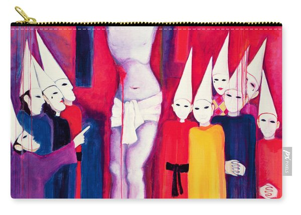 Christ And The Politicians, 2000 Acrylic On Canvas Carry-all Pouch