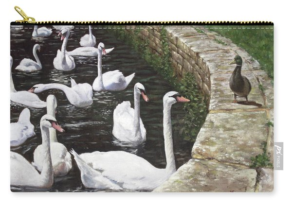 Carry-all Pouch featuring the painting christchurch harbour swans with Mallard Duck conversation by Martin Davey