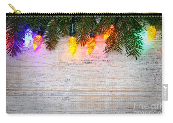 Christmas Lights With Pine Branches Carry-all Pouch