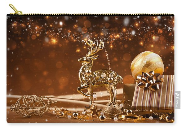 Christmas Reindeer In Gold Carry-all Pouch
