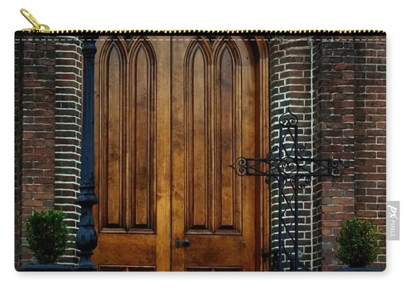 Church Arch And Wooden Door Architecture Carry-all Pouch
