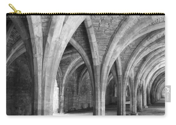 Carry-all Pouch featuring the photograph Church Archways In Black And White by Susan Leonard
