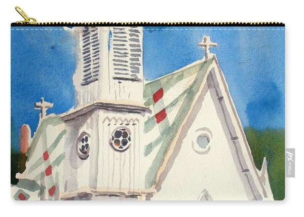 Church With Jet Contrail Carry-all Pouch