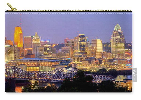 Cincinnati Skyline At Dusk Sunset Color Panorama Ohio Carry-all Pouch