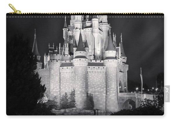 Cinderella's Castle Reflection Black And White Carry-all Pouch