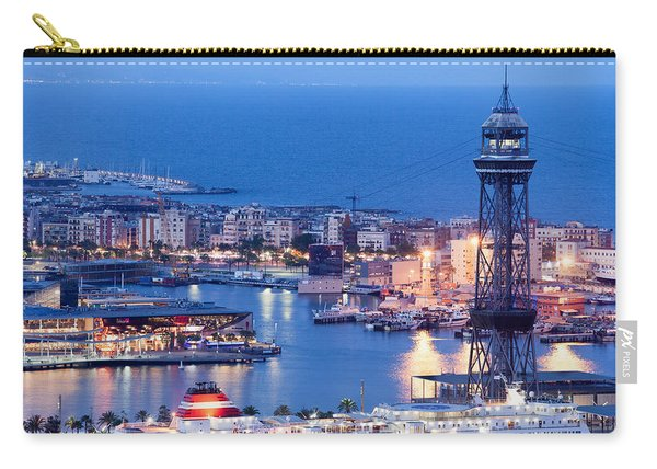 City Of Barcelona From Above At Night Carry-all Pouch