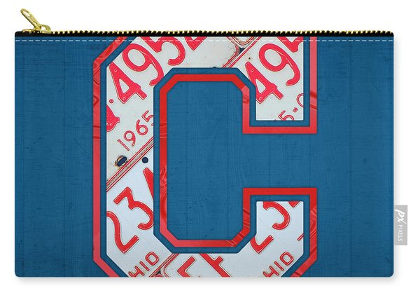 Cleveland Indians Baseball Team Vintage Logo Recycled Ohio License Plate Art Carry-all Pouch