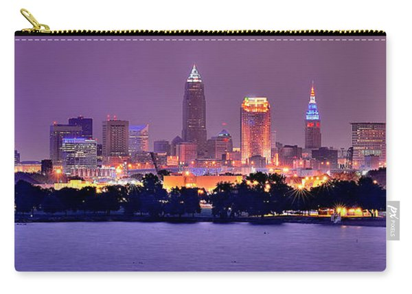 Cleveland Skyline At Night Evening Panorama Carry-all Pouch
