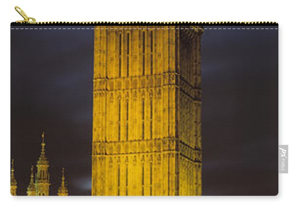 Clock Tower Lit Up At Night, Big Ben Carry-all Pouch