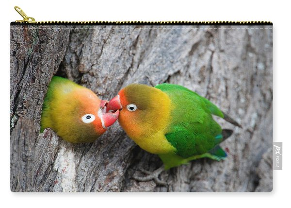 Close-up Of A Pair Of Lovebirds, Ndutu Carry-all Pouch