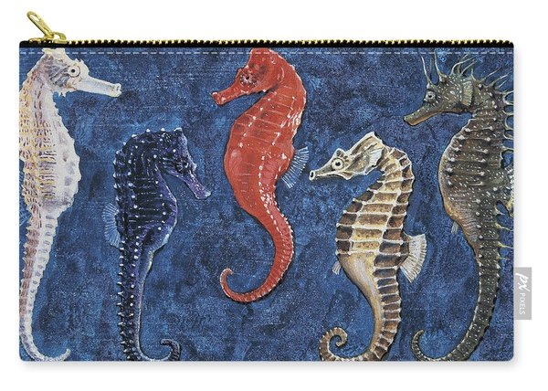 Close-up Of Five Seahorses Side By Side  Carry-all Pouch