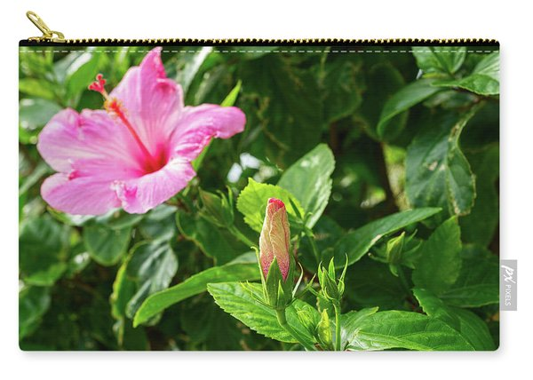 Close-up Of Hibiscus Flower And Bud Carry-all Pouch