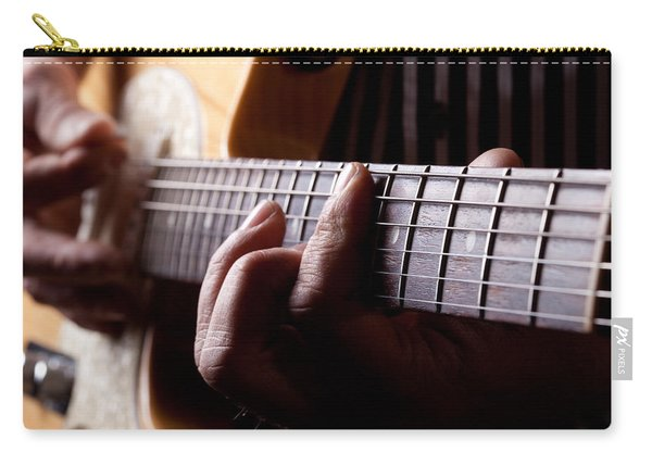 Close Up Shot Of A Man Playing Guitar Carry-all Pouch