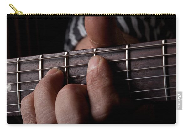 Close Up Shot Of A Mans Left Hand Playing Guitar Carry-all Pouch