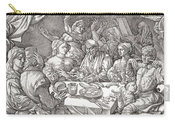 Coarse Behaviour At The Dining Table During The Renaissance Period.  After A Spanish Copper Carry-all Pouch