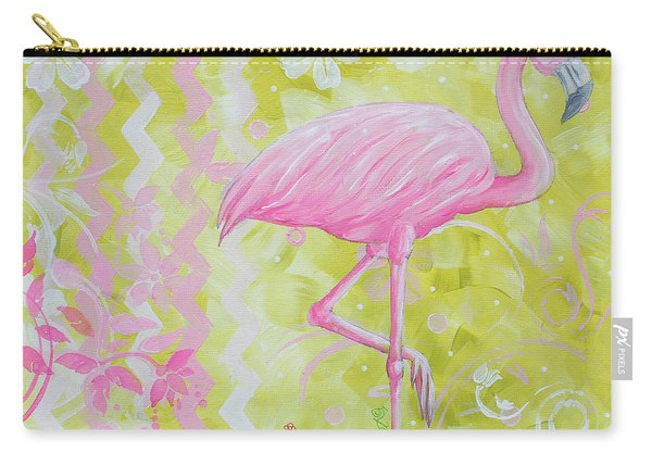Coastal Decorative Pink Green Floral Chevron Pattern Art Flamingo Dance By Madart Carry-all Pouch