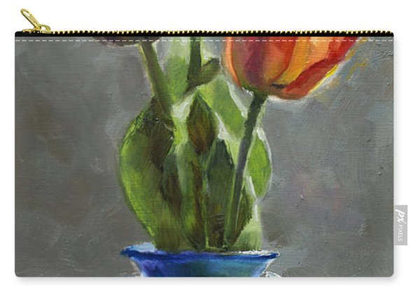 Cobalt And Tulips Still Life Painting Carry-all Pouch