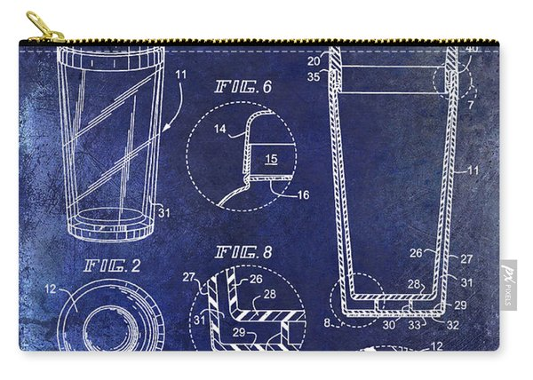 Cocktail Shaker Patent Drawing Blue Carry-all Pouch
