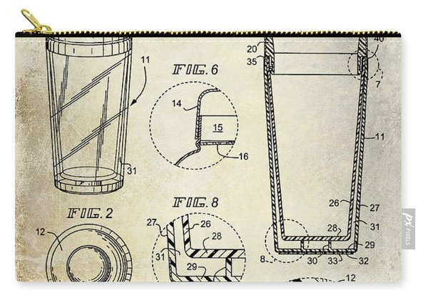 Cocktail Shaker Patent Drawing Carry-all Pouch