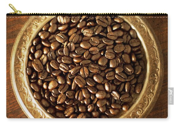 Coffee Beans On Antique Silver Platter Carry-all Pouch