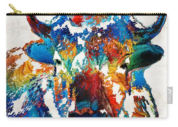 Colorful Buffalo Art - Sacred - By Sharon Cummings Carry-all Pouch