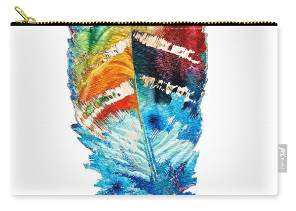 Colorful Feather Art - Cherokee Blessing - By Sharon Cummings Carry-all Pouch